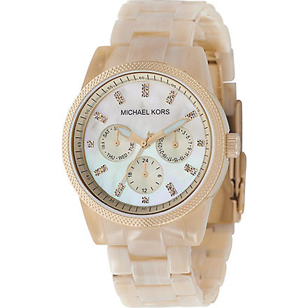 MICHAEL KORS MK5039 gold-plated and horn-effect acrylic chronograph watch (Horn