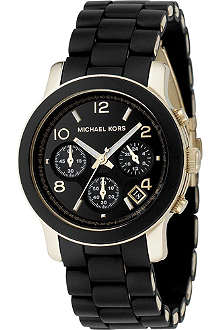 MICHAEL KORS Black and gold chronograph watch