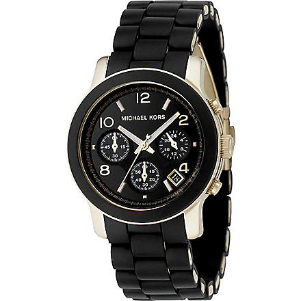 MICHAEL KORS Black and gold chronograph watch (Black