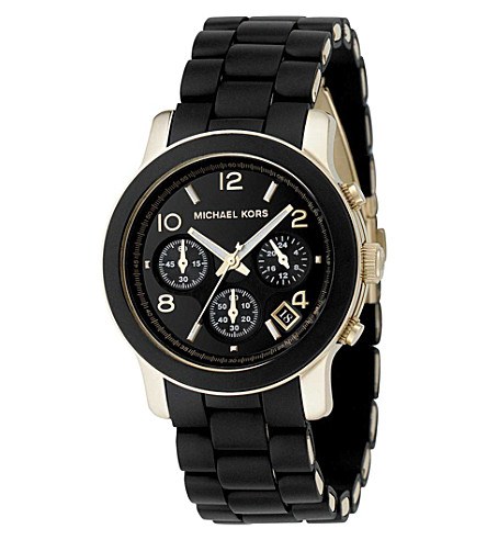 MICHAEL KORS Runway gold-plated watch (Black