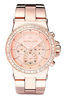 MICHAEL KORS Rose gold baguette bezel watch