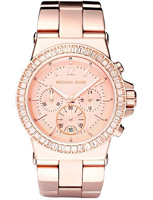 MICHAEL KORS MK5412 rose gold baguette bezel watch