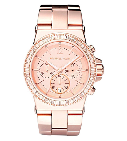 MICHAEL KORS MK5412 rose gold baguette bezel watch (Rose+gold