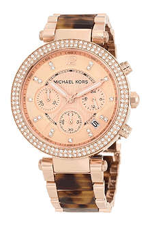 MICHAEL KORS Parker mid-size rose gold stainless steel and tortoise acetate chronograph glitz watch