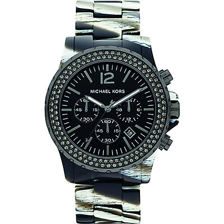 MICHAEL KORS MK5599 Safari resin chronograph watch (Black & white