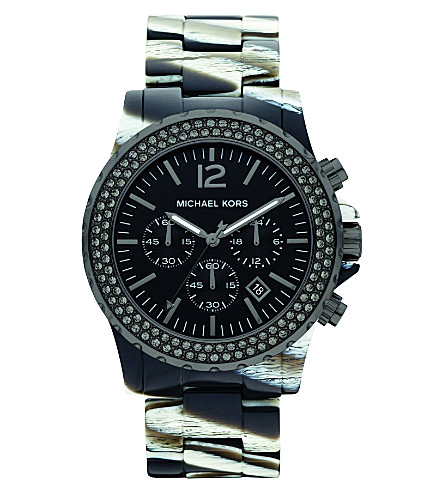 MICHAEL KORS MK5599 Safari resin chronograph watch (Black & white