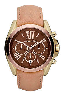 MICHAEL KORS MK5630 Bradshaw gold-plated and leather chronograph watch