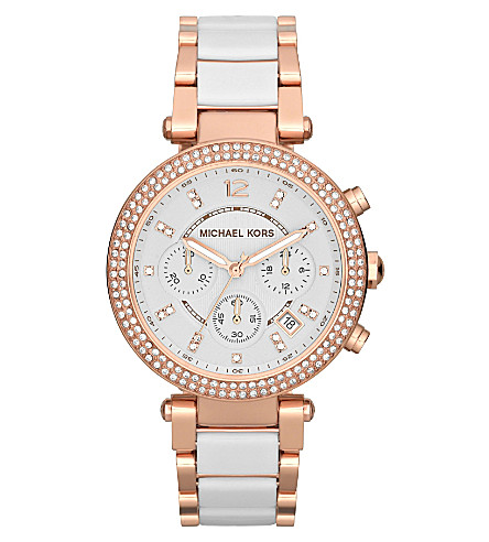 MICHAEL KORS MK5774 Parker rose gold-plated watch (White