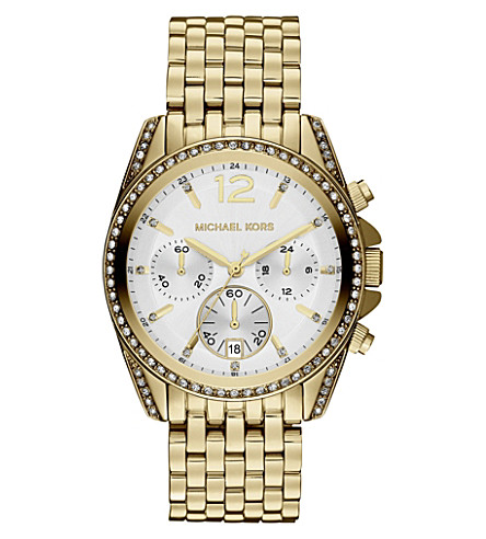 MICHAEL KORS MK5835 Pressley gold-plated chronograph watch (White