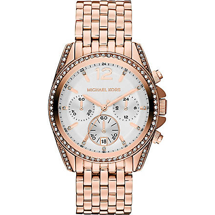 MICHAEL KORS MK5836 Pressley rose gold-toned chronograph watch (White
