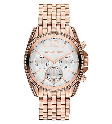 MICHAEL KORS MK5836 Pressley rose gold-toned chronograph watch (White