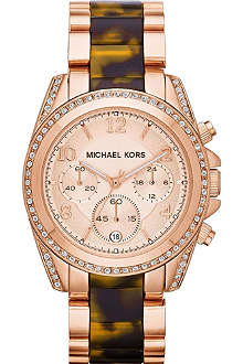 MICHAEL KORS Ladies rose gold and tortoiseshell watch