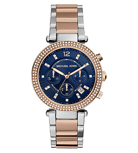 MICHAEL KORS MK6141 Parker rose gold-tone watch (Blue