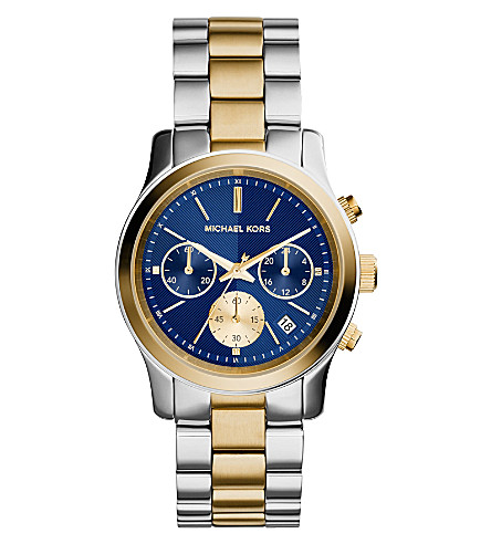 MICHAEL KORS MK6165 Runway yellow gold-plated and stainless steel watch (Blue