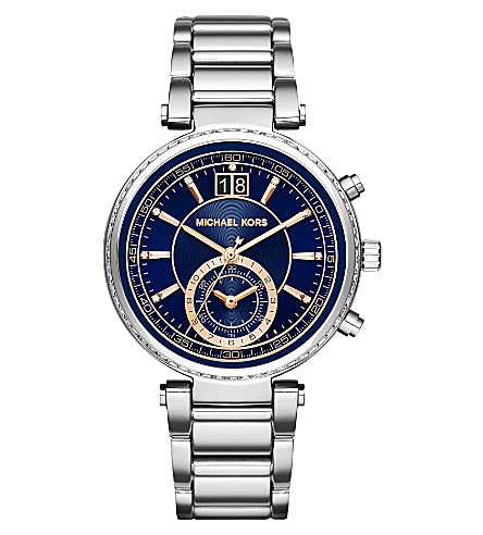 MICHAEL KORS MK6224 Sawyer stainless steel chronograph watch (Blue