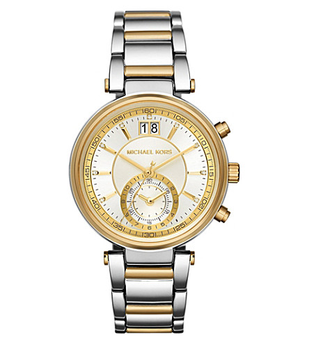 MICHAEL KORS MK6225 Sawyer stainless steel and gold-toned watch (Silver