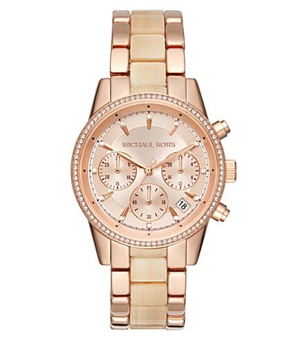 MICHAEL KORS MK6493 Ritz crystal-encrusted stainless steel watch