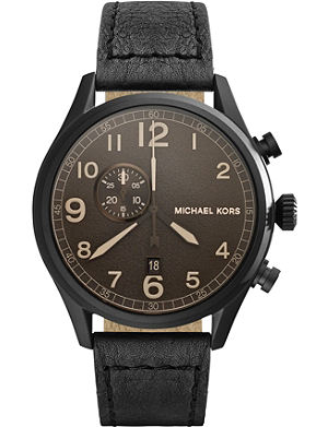 MICHAEL KORS Hangar textured dial leather strap watch