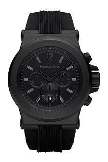 MICHAEL KORS Stainless steel and silicone chronograph watch
