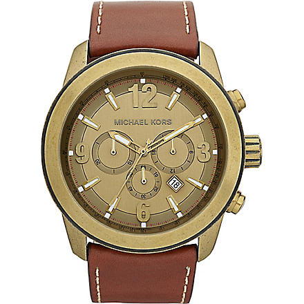 MICHAEL KORS MK8250 Gold-plated and leather chronograph watch