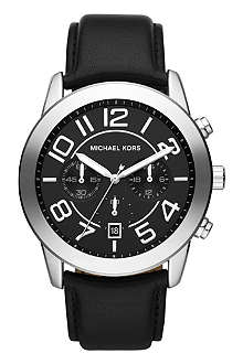 MICHAEL KORS MK8288 Mercer stainless steel and leather strap chronograph watch