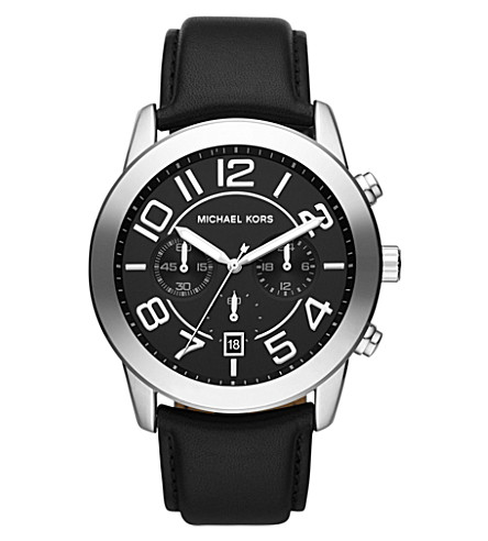 MICHAEL KORS MK8288 Mercer stainless steel and leather strap chronograph watch (Black