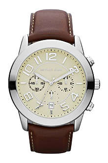 MICHAEL KORS MK8292 stainless steel and leather chronograph watch