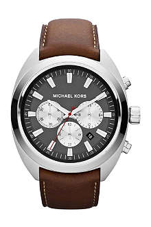 MICHAEL KORS MK8294 stainless steel and leather chronograph watch