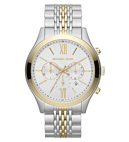 MICHAEL KORS MK8306 Brookton steel and gold-plated chronograph watch (Silver