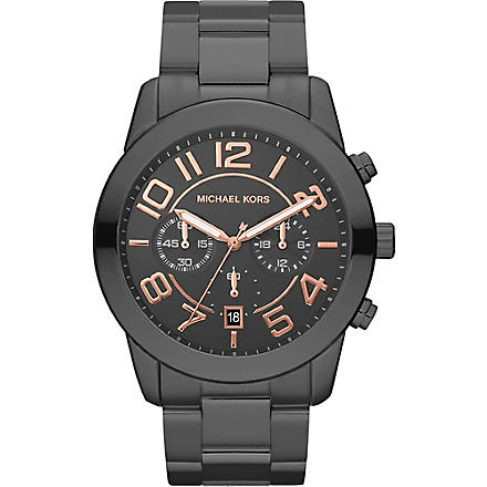 MICHAEL KORS Black stainless steel watch (Black