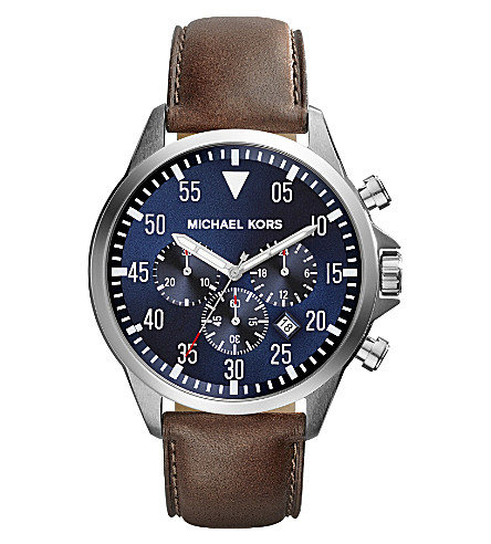 MICHAEL KORS MK8362 Gage stainless steel and leather watch (Blue