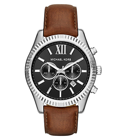 MICHAEL KORS MK8456 lexington stainless steel and leather chronograph watch