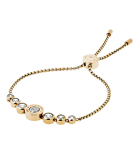 MICHAEL KORS Cubic zirconia and gold-toned stainless steel slider bracelet
