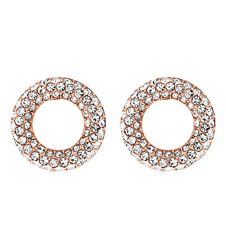 MICHAEL KORS Brilliance rose gold-toned pavé stud earrings