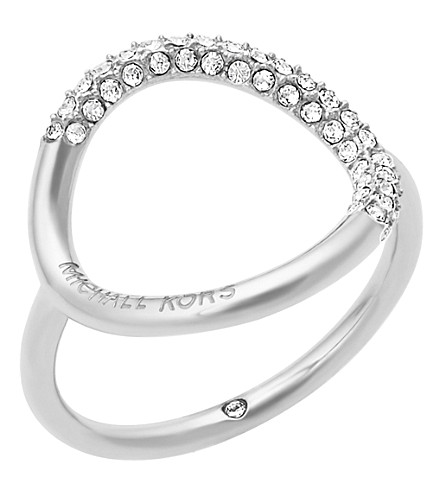 MICHAEL KORS Brilliance stainless steel and crystal pavé ring