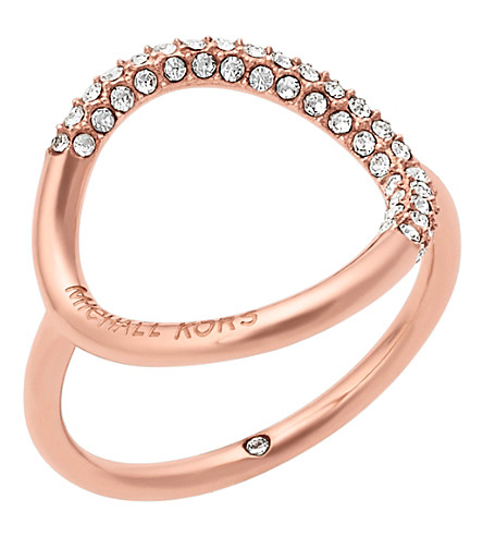 MICHAEL KORS Brilliance rose gold-toned pavé ring