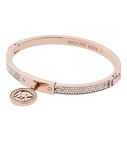 MICHAEL KORS Fulton rose-gold and pavé hinge bangle bracelet