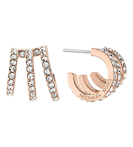 MICHAEL KORS Modern Brilliance rose gold-toned pavé earrings