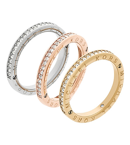 MICHAEL KORS Haute Hardware Iconic crystal stacking rings