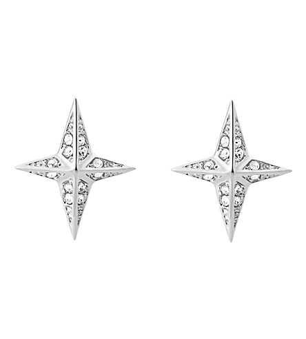 MICHAEL KORS Star silver-toned cubic zirconia earrings