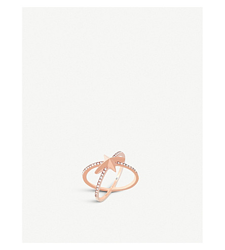 MICHAEL KORS Star rose gold-toned Cubic Zirconia ring