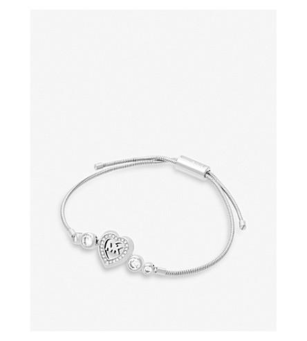 MICHAEL KORS Heart and logo silver-toned slider bracelet