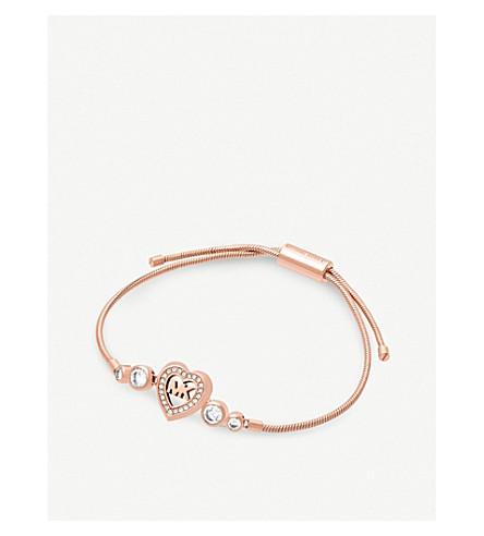 MICHAEL KORS Heart and logo rose gold-toned slider bracelet