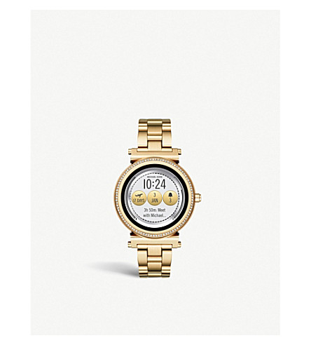 MICHAEL KORS MKT5021 Sofie yellow-gold plated stainless steel and pavé watch