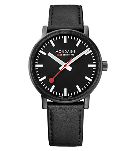 MONDAINE MSE-40121-LB evo2 leather and black IP stainless steel watch