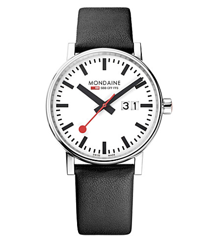 MONDAINE MSE-40210-LB evo2 Big leather and stainless steel watch