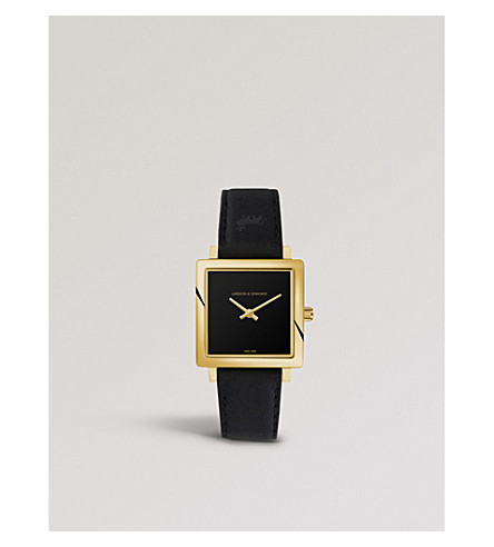 LARSSON & JENNINGS NRS40-LBLK-CP-Q-P-GB-O Norse Jette gold-plated watch