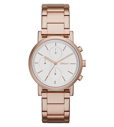 DKNY NY2275 Soho rose gold-toned stainless steel watch (Silvery+white