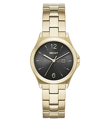 DKNY NY2366 Parsons gold-plated watch (Black