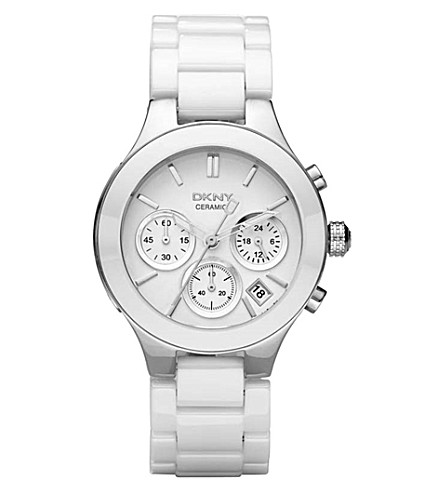 DKNY NY4912 Chambers stainless steel and ceramic watch (White